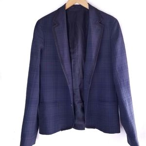 Lanvin for H&M Tuxedo Jacket Wool Plaid Navy Black